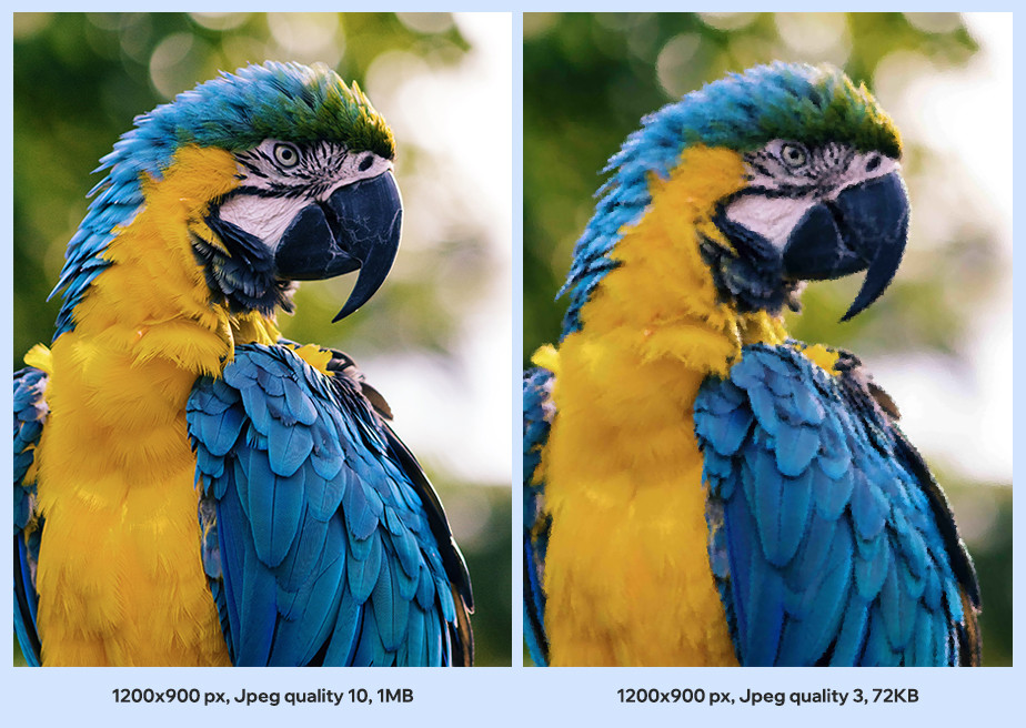 example of image optimization through JPEG compression