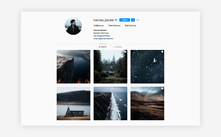 Hannes Becker outdoors photography Instagram account
