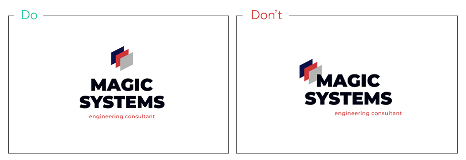 Align all logo elements in the same direction