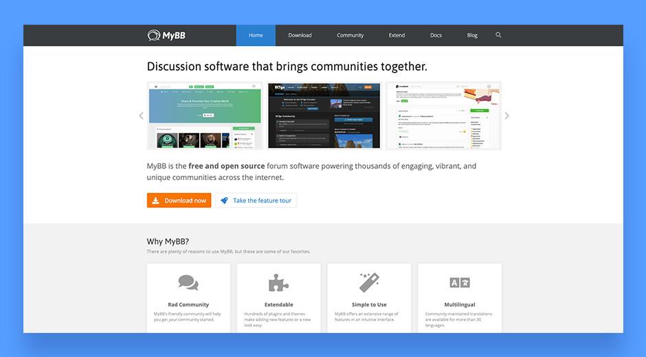 myBB customizable forum software for online communities