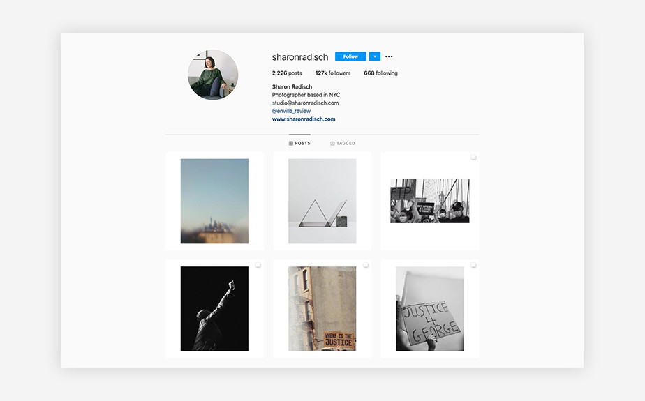 Sharon Radisch minimalist Instagram photographer feed