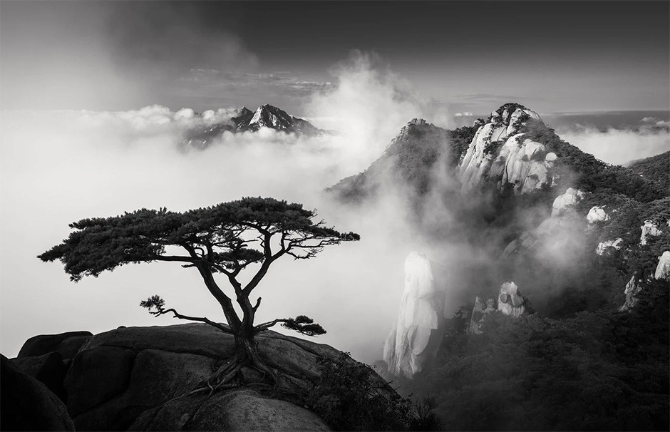 black and white mountain landscape with asymmetrical composition