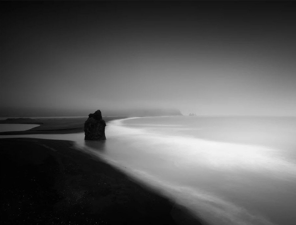 black and white long exposure of Iceland beach