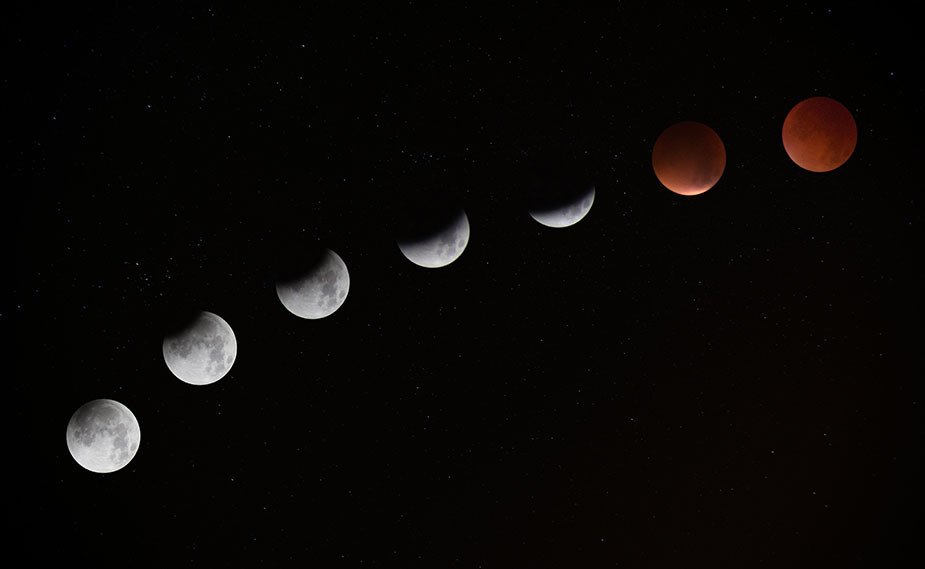 lunar eclipse red moon stages