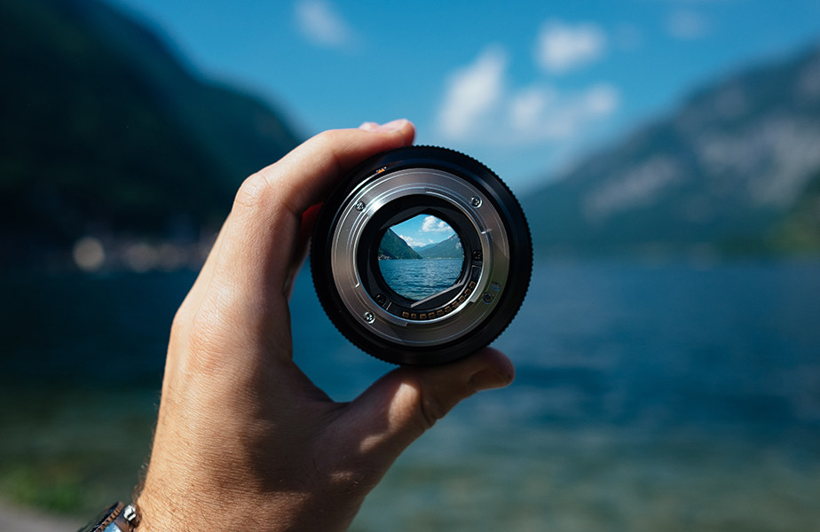 landscape seen through camera lens