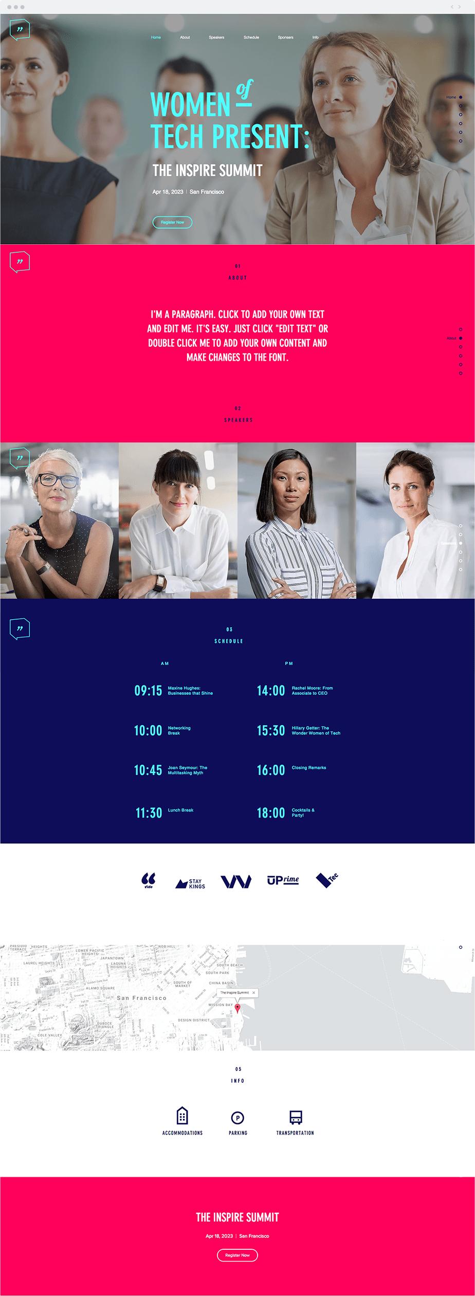 Plantilla Wix - Conferencia de Mujeres
