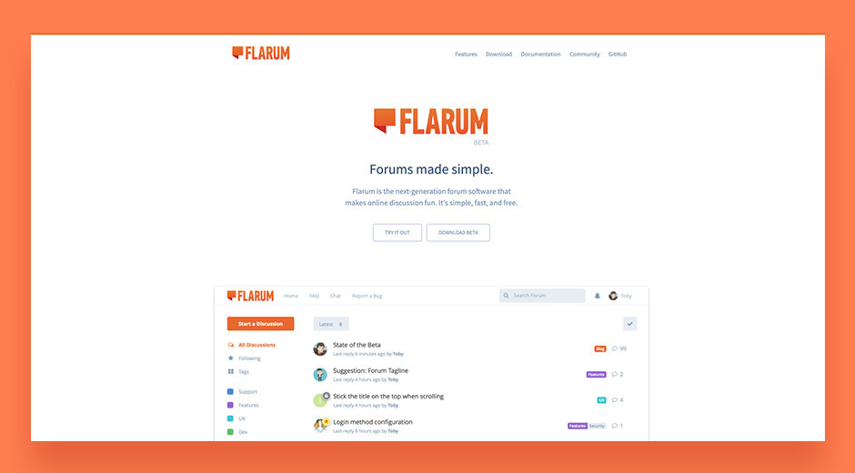 Flarum modern online community platform