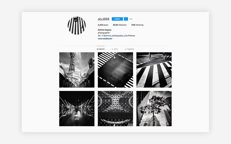 Akihito Nagata black and white urban photography Instagram account