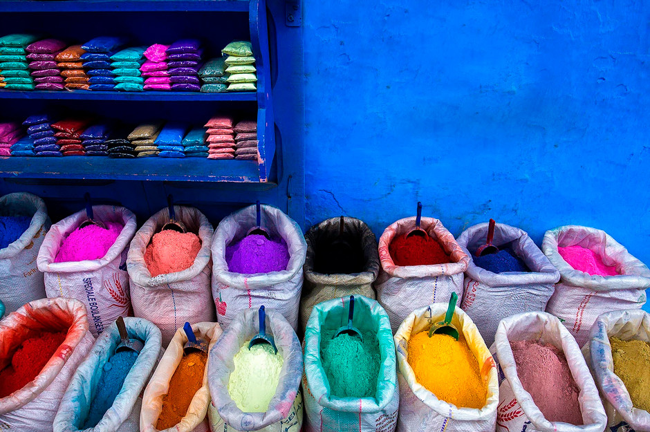 travel photography colorful spices in chefchaouen morocco's blue city