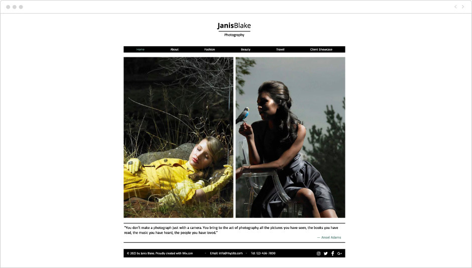 Fashion Photographer Website Template