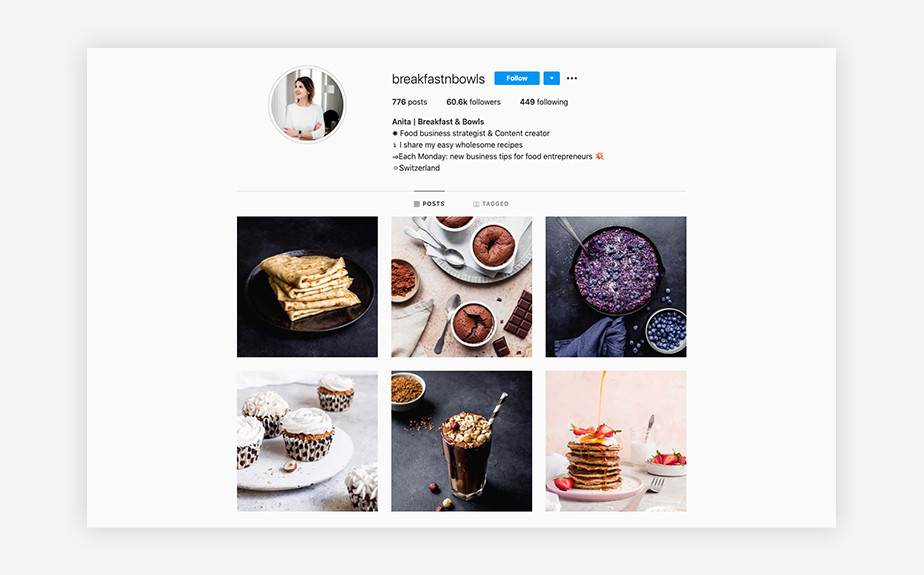Breakfast & Bowls food photography Instagram account