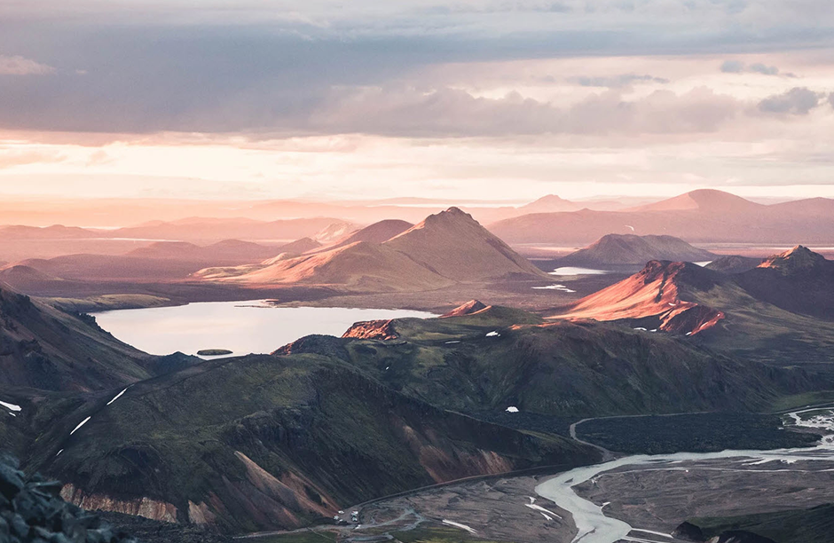 sunset over mountains in iceland