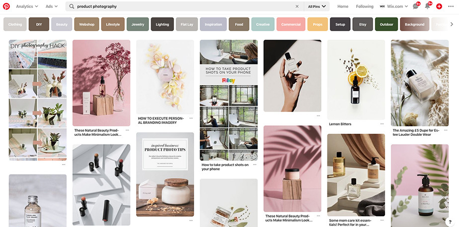 product photography Pinterest board