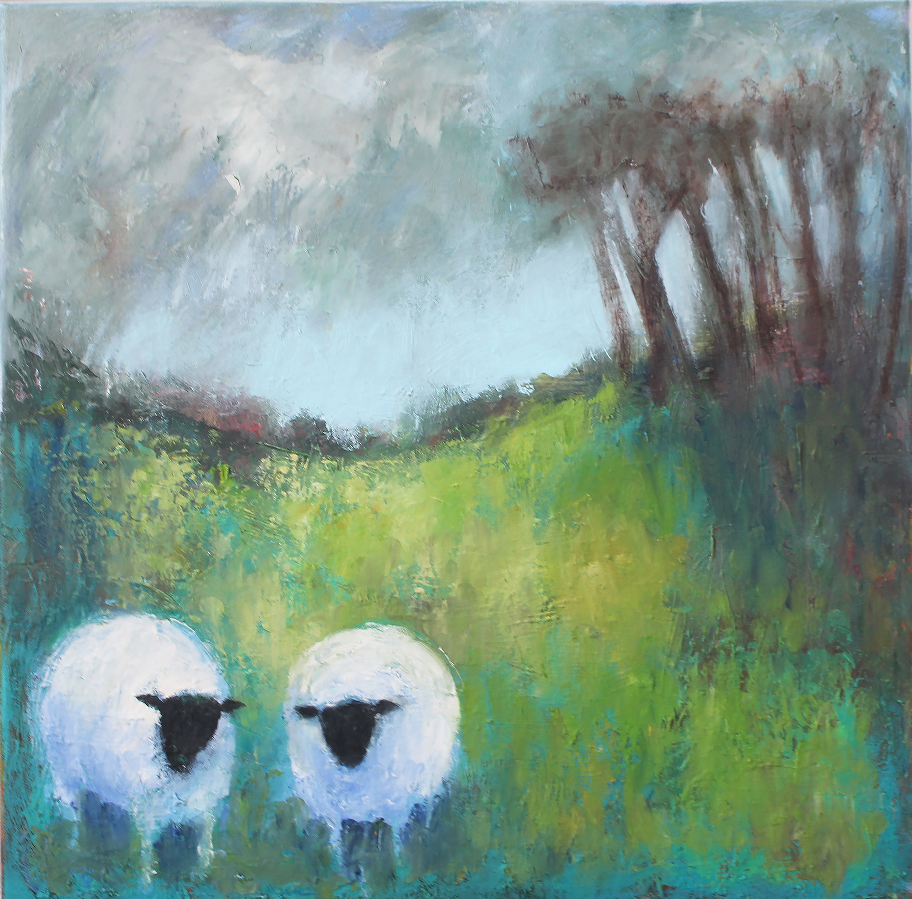 Sheep in field - oil on canvas 40 x 40 cm framed £195