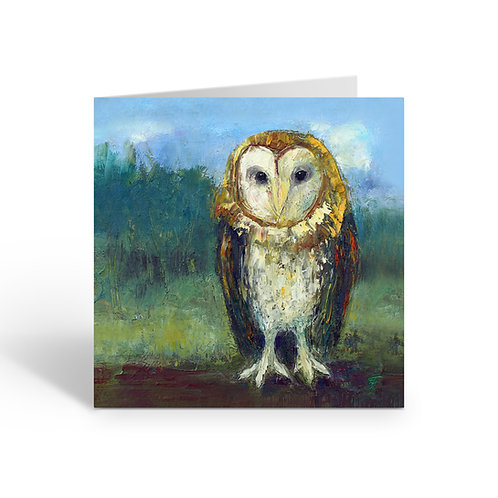 Golden Barn Owl - card