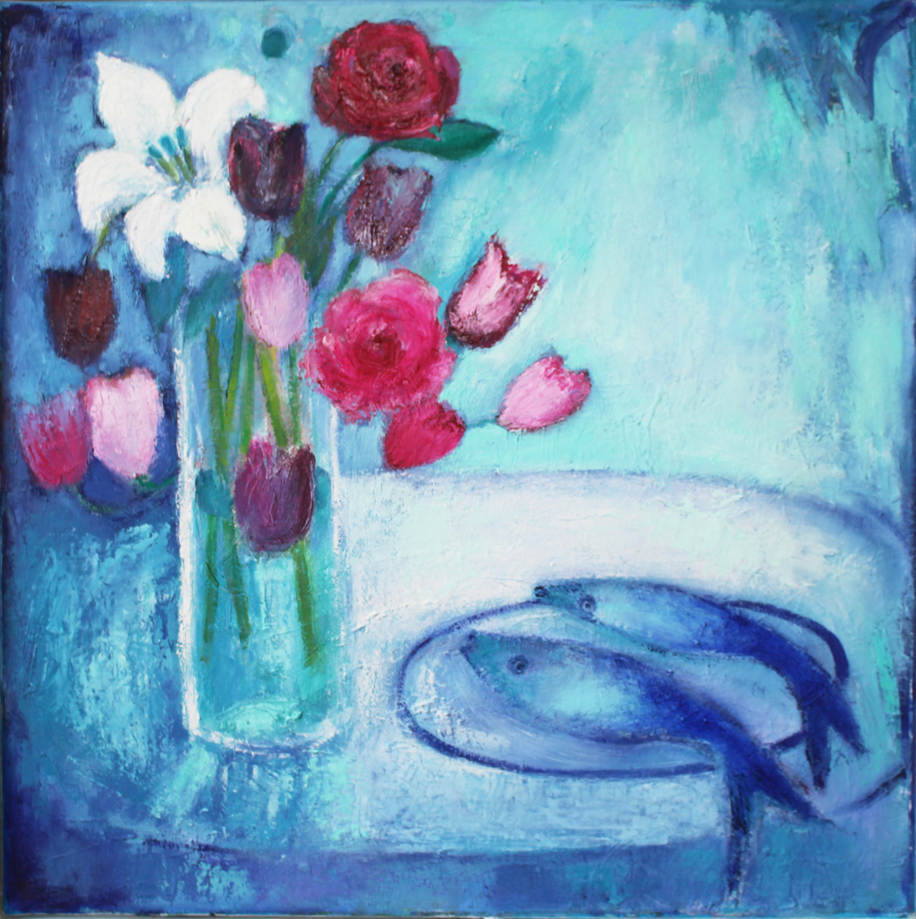Roses, Tulips and Fishes - oil on canvas 60 x 60 cm framed £295