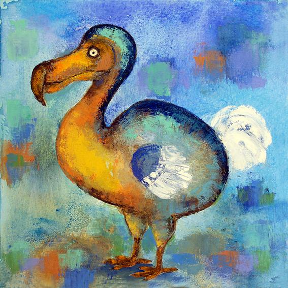 Golden Dodo - Oil on Canvas              40 x 40cm   framed    £145