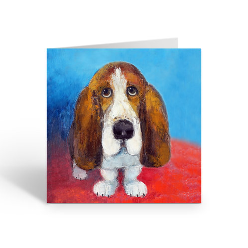 Gentle Basset Hound - card