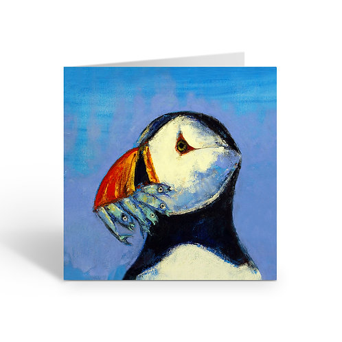 Fishing Puffin - card