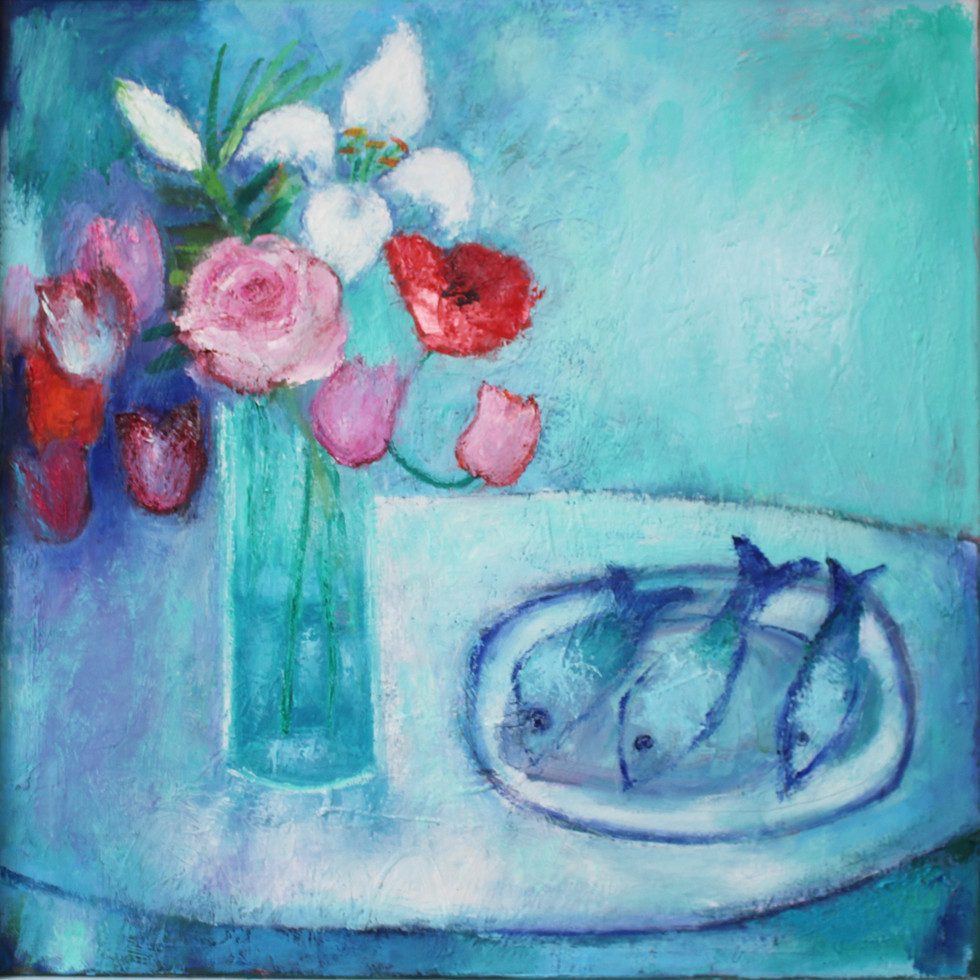 Flowers and Fishes - oil on canvas 60 x 60 cm framed £295