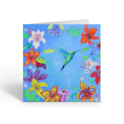 Blue Hummingbird - card