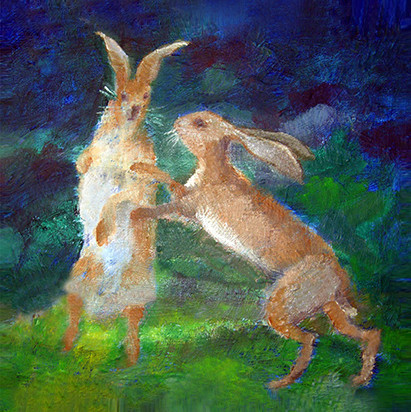 Boxing Hares SOLD