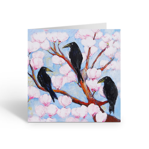 WHOLESALE PACK OF 6 Crows in Magnolia Tree - B045