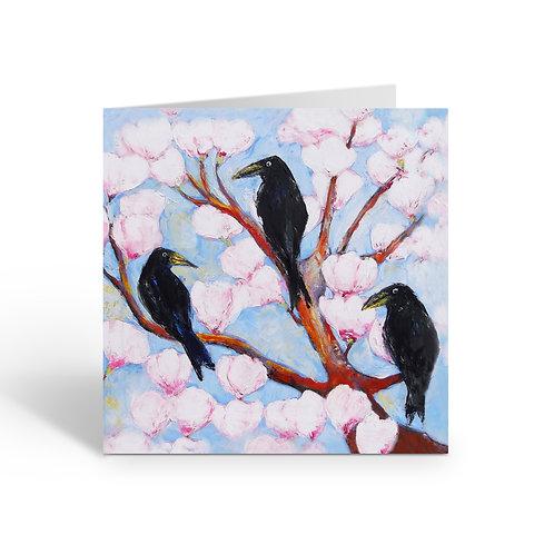 Crows in Magnolia Tree - card