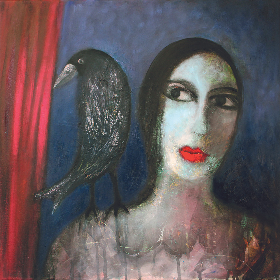 Strange Lady with Crow - oil on canvas 50 x 50 cm  framed £295