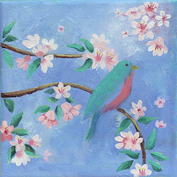 Morning Song -  oil on canvas 15 x 15cm framed  £75