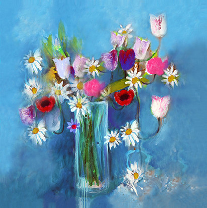 Flowers on Blue - SOLD