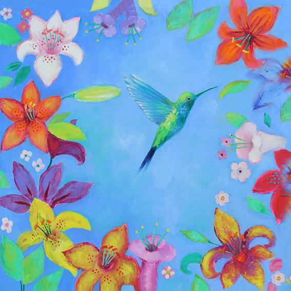 Blue Hummingbird - Oil on Canvas          50 x 50cm          £250