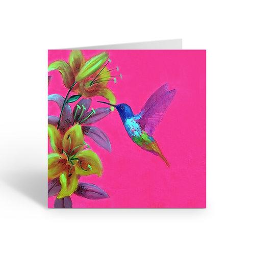 Pink Hummingbird - card