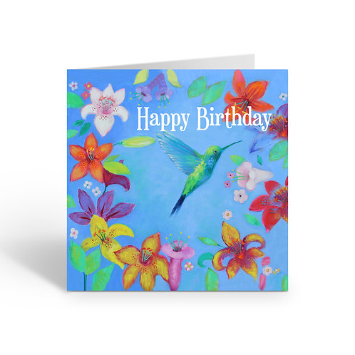 WHOLESALE PACK OF 6 Birthday / Blue Hummingbird - Z311