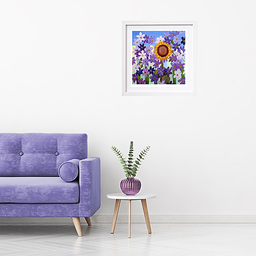 Sunflower and Clematis - print