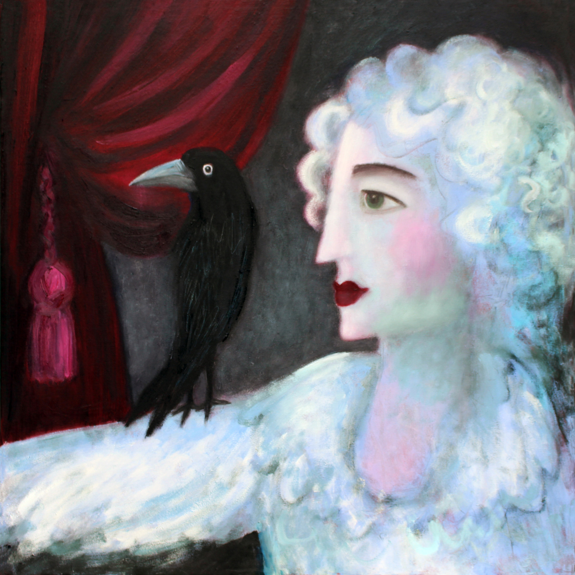 Poet with Crow - oil on canvas 50 x 50 framed £295