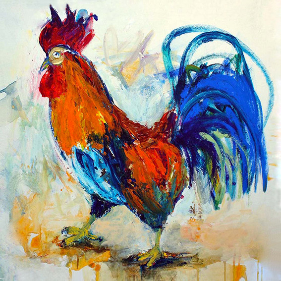 Red Rooster - Acrylic on Canvas       60 x 60cm   framed     £550
