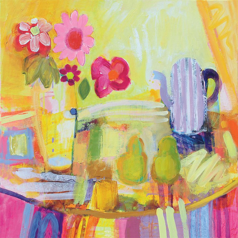 Purple Coffee Pot - Acrylic on canvas 60 x 60 cm framed £395
