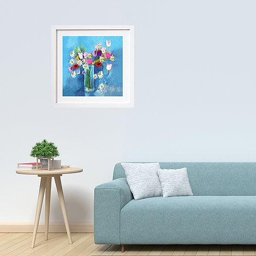 Flowers on Blue - print