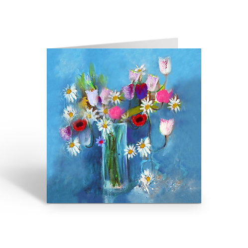 Flowers on Blue - card
