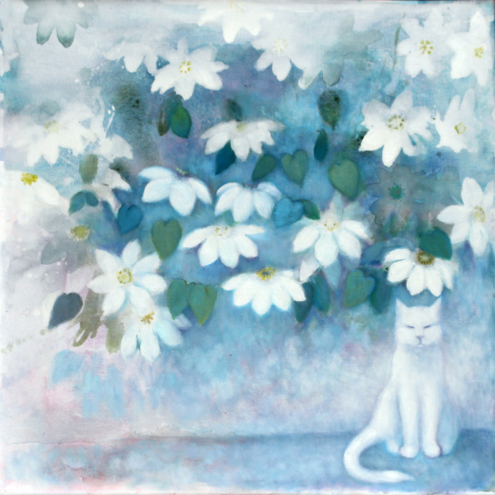 Cecil under the Clematis - Oil on Canvas              80 x 80cm       SOLD