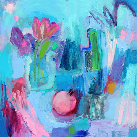 Pink Pomegranite - oil on canvas - 50 x 50 cm framed £350