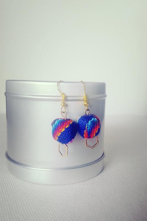 Boucles d'oreilles latina bleu foncé & colorées