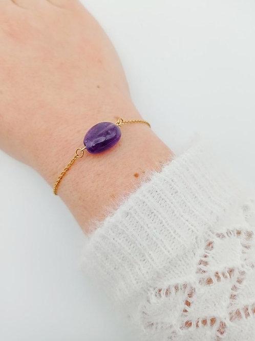 Bracelet plaqué or améthiste
