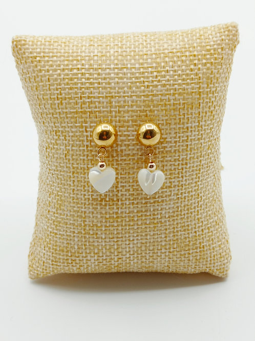 Boucles d'oreilles ronde plaqué or - Coeur Nacre
