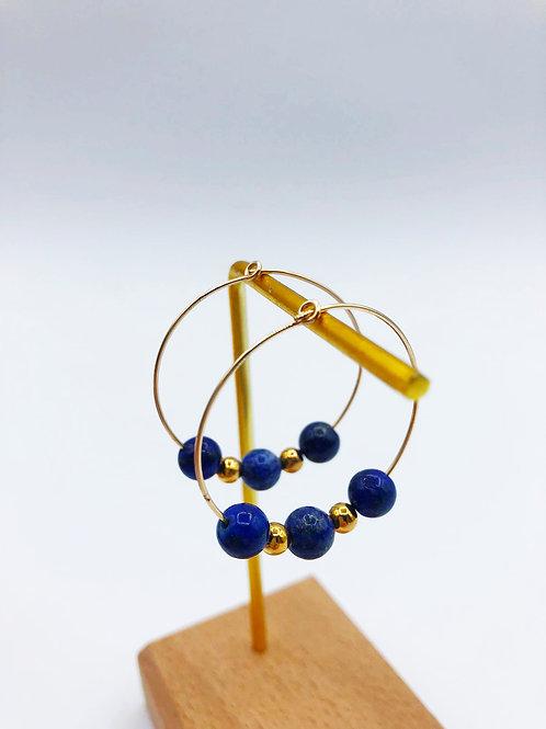 Créoles gold filled - lapis lazuli
