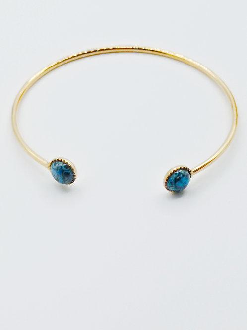 Bracelet jonc plaqué or - Agate crazy blue