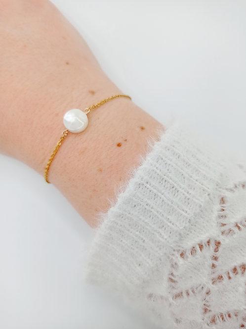 Bracelet plaqué or - nacre