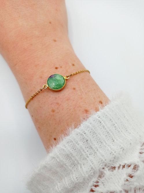 Bracelet plaqué or - rubis zoisite