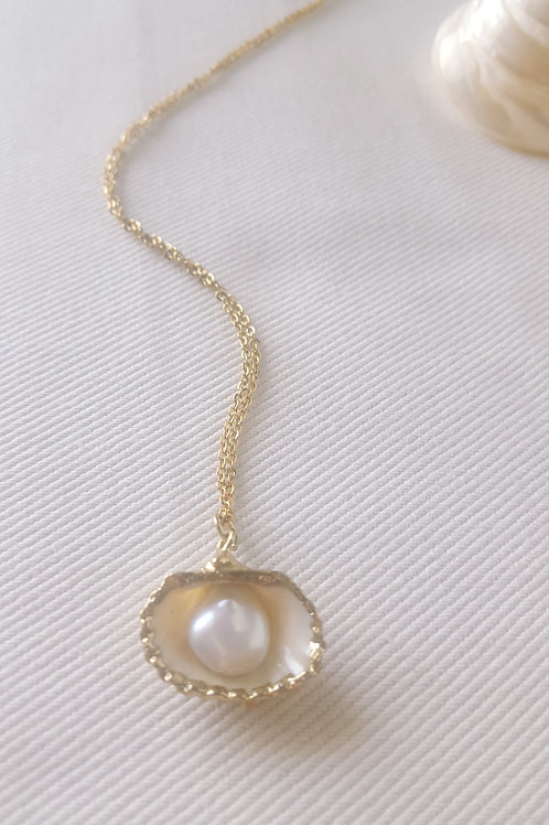 Collier plaqué or - coquillage nacre